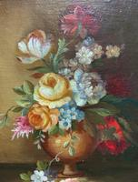 Superb Original Early 20th Century Continental Miniature Floral Still Life Oil Painting (8 of 11)