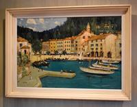Italian lake scene oil painting by Godwin Bennett (8 of 8)