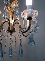 Vintage Gilt Toleware Ceiling Light Chandelier with Teal Glass Droplets (10 of 12)