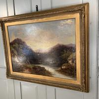 Antique Victorian river landscape oil painting of fishing party 1 of 2 (5 of 10)