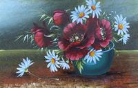 Attractive Matching Pair of 19th Century Oil Paintings Floral Still Life Study (6 of 8)