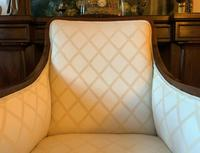 Exceptional Pair of Mahogany Inlaid Linen Silk Upholstered Bergere Armchairs (6 of 12)