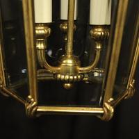 French Gilded Bronze Triple Light Antique Hall Lantern (8 of 10)