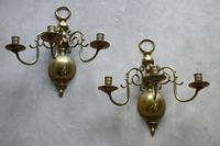 Pair of Dutch Style Brass 3 Branch Wall Candle Sconce (12 of 13)