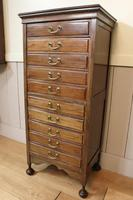 Edwardian Walnut Sheet Music Cabinet. Document Chest of Drawers (2 of 9)