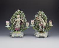 Rare Pair Derby Porcelain Double Candlestick Figures Liberty & Matrimony