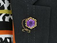 12.50ct Amethyst & Seed Pearl, 15ct Yellow Gold Brooch - Antique c.1890 (9 of 9)