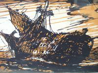 "After Frank Brangwyn RA: Woodcut ""The Wreck"" by H G Webb ca 1912 (3 of 4)"