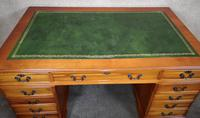 Large Yew Twin Pedestal Leather Top Desk (5 of 10)