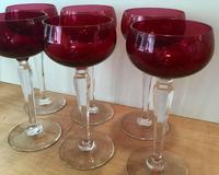 Set of Six Cranberry Wine Glasses (3 of 5)