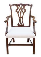 Set of 10 (8+2) Mahogany Georgian Revival Dining Chairs Ribbon Back c.1920-1950 (3 of 10)