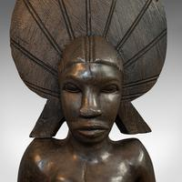Antique Female Statue, African, Ebony, Hand Carved, Tribal Figure c.1900 (4 of 11)