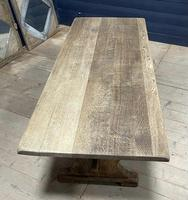 Larger French Bleached Oak Trestle Farmhouse Dining Table (14 of 21)