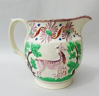 Attractive Pink Lustre Creamware Jug With Deer c.1820 (5 of 7)