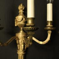 French Pair Of Bronze Antique Wall Lights (3 of 9)