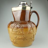Large & Handsome Stoneware Salt Glaze Sprigged Beer Jug 19th Century (2 of 9)