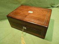 Inlaid Rosewood Jewellery Box + Tray c.1870