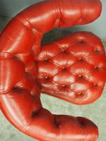Victorian Oak & Crimson Leather Cockfighting Chair (8 of 10)