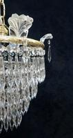 Pair of Italian Art Deco Four Tier Crystal Glass Chandeliers (3 of 7)