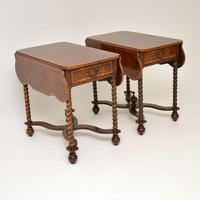 Pair of Antique Burr Walnut Drop Leaf Side Tables (7 of 12)