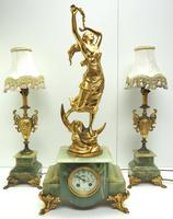 Incredible Art Nouveau Dancing Figural Mantel Clock Set 8 Day Striking Mantle Clock  with Side Lamps (3 of 15)
