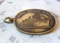 Vintage Pocket Watch Chain Fob 1950s Rms Queen Mary Ships Brass Propeller Fob (7 of 8)
