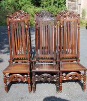 1900's Set 6 Carved Highback Oak Dining Chairs -carolean Style (2 of 5)