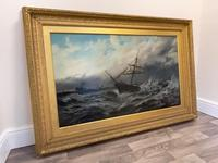 Huge 19th Century Seascape Oil Painting Sinking Ship Signalling Rescuers by Henry E Tozer (47 of 58)