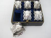 Boxed Set of Six Late Victorian Silver Plated Napkin Rings (4 of 5)
