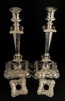 Pair of  Late Victorian Silver Plated Candlesticks (4 of 6)