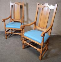 Pair of Oak Reproduction High Back Armchairs (11 of 11)