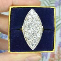 Stunning Vintage 18ct Gold Marquise Diamond Cluster Ring 1.65ct ~ With Independent Appraisal / Valuation