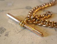 Victorian Pocket Watch Chain 1890s Large 10ct Rose Gold Filled Double Albert & T Bar (9 of 11)