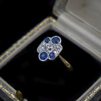 Antique Blue Sapphire and Old Cut Diamond Cluster 18ct 18K Yellow Gold and Platinum Ring (9 of 10)