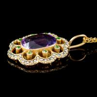 Antique Edwardian Suffragette Pendant Necklace Amethyst Peridot Pearl 9ct Gold c.1910 (6 of 8)