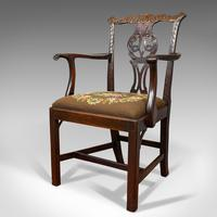 Antique Carver Chair, English, Mahogany, Needlepoint, Elbow, Chippendale Style (8 of 12)