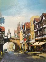 English Atmospheric Oil Painting Historic Chester Eastgate Street Clock After Ben Maile (4 of 12)