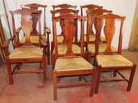 1960s Set 8 Teak Dining Chairs - 6 + 2 Carvers Rush Seats