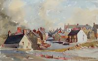 Original Vintage North Wales Coastal Village Landscape Watercolour Painting (2 of 12)