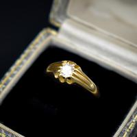 Antique Old Cut Diamond Solitaire Belcher 18ct Gold Ring (3 of 10)