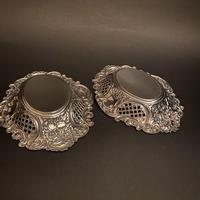 Pair of Flat Silver Swags Flowers & Grille Bon Bon Dishes (5 of 7)