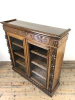Victorian Glazed Oak Cabinet with Carved Detail (7 of 10)