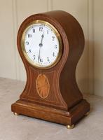 Edwardian Oak & Inlay Balloon Clock (3 of 8)