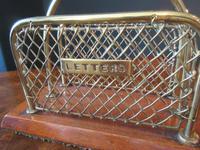 Antique Brass & Mahogany Letter Rack c.1890 (3 of 5)