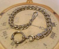 Antique Pocket Watch Chain 1910 Art Nouveau Silver Chrome Graduated Albert Nos (4 of 11)