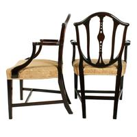 Pair of Hepplewhite Style Elbow Chairs (2 of 8)