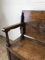 Antique Carved Oak Monks Bench Hall Seat (6 of 10)