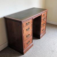 Walnut Kneehole Writing Desk - Edwardian c.1910 (8 of 8)