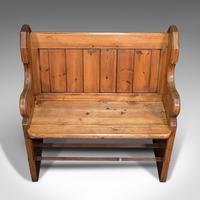 Antique Love Seat, English, Pine, Bench, Pew, Ecclesiastic Taste, Victorian (8 of 12)