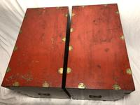 Pair of Late Qing Antique Chinese Dowry Marriage Wedding Brass Bound Red Lacquer Chests (36 of 54)